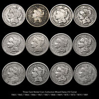 THREE CENT NICKEL  12 PIECE COIN COLLECTION  MIXED DATES CIV