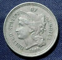1866 THREE CENT NICKEL 3  NICE COIN