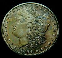 AU1894-S KEY DATE.   $1 MORGAN SILVER DOLLAR NATURALLY TONED