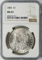 1883 MORGAN SILVER DOLLAR $1 NGC MINT STATE 63