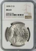 1898-O MORGAN SILVER DOLLAR $1 NGC MINT STATE 63
