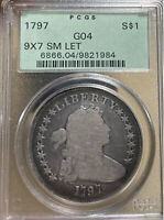 1797 OGH 9X7 SM LET PCGS G04 DRAPED BUST SILVER DOLLAR