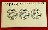 1979 SUSAN B. ANTHONY $1 SOUVENIR SET UNCIRCULATED 3 COINS F