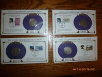 4- MORGAN SILVER DOLLARS - PCS COLLECTION  STAMPS 1889,1890-0,1891-0,1892-0