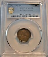 1922 NO D 1C PCGS VF 20 STRONG REVERSE LINCOLN CENT SCARCE S