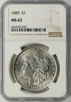1889 MORGAN SILVER DOLLAR $1 NGC MINT STATE 62