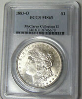 PCGS MINT STATE 63 1883-O MORGAN SILVER DOLLAR MCCLAREN COLLECTION CHOICE UNCIRCULATED