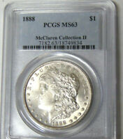 PCGS MINT STATE 63 1888 MORGAN SILVER DOLLAR MCCLAREN COLLECTION CHOICE UNCIRCULATED