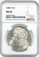1882-S MORGAN DOLLAR SILVER S$1 GEM BRILLIANT UNCIRCULATED NGC MINT STATE 66