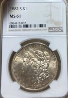 1882-S NGC MINT STATE 61 MORGAN SILVER DOLLAR