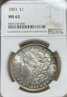 1883 NGC MINT STATE 62 MORGAN SILVER DOLLAR
