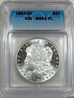 1884-CC MORGAN DOLLAR SILVER S$1 CHOICE UNCIRCULATED ICG MINT STATE 63 PL, PROOF LIKE
