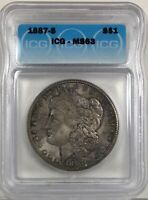 1887-S MORGAN DOLLAR SILVER S$1 CHOICE UNCIRCULATED ICG MINT STATE 63