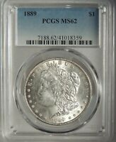 1889-P  $1 MORGAN SILVER DOLLAR PCGS MINT STATE 62 41018359   MINT STATE COIN
