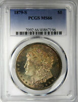 1879-S MORGAN DOLLAR  PCGS MINT STATE 66  VIBRANT CRESCENT TONE FRESH SLAB INV196