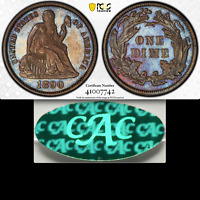 1890 PCGS PR64 CAC POP THREE  590 MINTED  BEAUTIFUL PROOF SEATED DIME 10C
