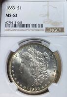 1883 NGC MINT STATE 63  MORGAN SILVER DOLLAR