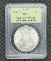 1882-S MORGAN DOLLAR | PCGS MINT STATE 64 OLD GREEN HOLDER OGH