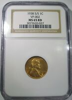 1938 S/S LINCOLN WHEAT CENT NGC MS65 RD VP 002 FS 501 NICE GEM RPM
