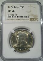 1976 P KENNEDY BICENTENNIAL HALF DOLLAR COIN NGC MS66 MINT LUSTER SOLID COIN.