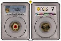 2012 AUSTRALIA TWO DOLLAR $2 REMEMBRANCE DAY COLORED PCGS