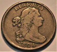 1804 DRAPED BUST HALF CENT MIDDLE GRADE ORIGINAL LOOKING HALF PENNY 1/2C COIN