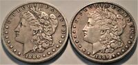 LOT OF  2  BETTER DATE MORGAN SILVER DOLLARS 1886 S 1889 S B