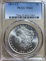 1891-CC TOP-100 VAM-3NOT NOTED ON HOLDER PCGS MINT STATE 62 MORGAN SILVER DOLLAR