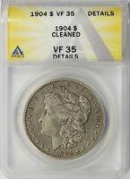 1904 MORGAN SILVER DOLLAR $1 ANACS VF35 DETAILS - CLEANED
