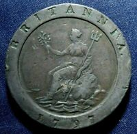 1797 GREAT BRITAIN TWO PENCE COPPER CARTWHEEL COIN  NICE COI