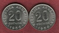 TWO RARE BU 1956 ARGENTINA 20 CENTAVOS WITH IDENTICAL DOUBLE