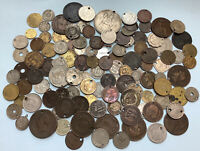 HOLED ANTIQUE AND MORDEN LOT X110 COINS AND MEDALS  009