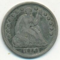 1858 SEATED LIBERTY SILVER HALF DIME- CIRCULATED TYPE COIN-SHIPS FREE