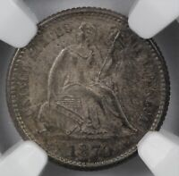 NGC MINT STATE 62 1870 LIBERTY SEATED SILVER HALF DIME H10C