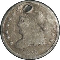 1836 H10C CAPPED BUST SILVER HALF DIME AG DETAILS  HOLED / CULL COND  041221045