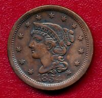 1854 BRAIDED HAIR LARGE COPPER CENT CHOICE  FINE SHIPS FREE