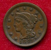 1847 BRAIDED HAIR LARGE COPPER CENT CHOICE  FINE SHIPS FREE