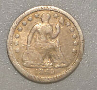 1849 SEATED LIBERTY HALF DIME WITH NO ARROWS CIRCULATED 90 SILVER COIN 40521K