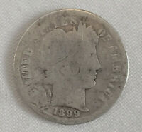 1899 US BARBER LIBERTY 90 SILVER DIME COIN TEN CENTS CIRCULATED US CURRENCY