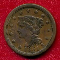 1851 BRAIDED HAIR LARGE COPPER CENT CHOICE  FINE SHIPS FREE