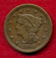 1846 BRAIDED HAIR LARGE COPPER CENT CHOICE  FINE SHIPS FREE