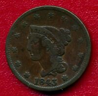 1843 BRAIDED HAIR LARGE COPPER CENT CHOICE FINE SHIPS FREE