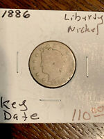1886 US LIBERTY V NICKEL 5C FIVE CENT KEY DATE COIN