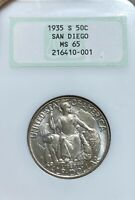 1935-S NGC MINT STATE 65 SAN DIEGO SILVER COMMEMORATIVE HALF DOLLAR