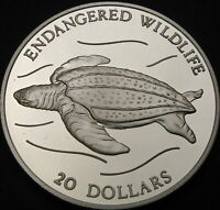 TUVALU 20 DOLLARS 1993 PROOF   SILVER   LEATHERBACK TURTLE
