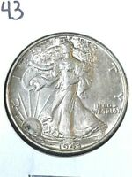 1943 P    SILVER WALKING LIBERTY HALF DOLLAR IN AU/UNCIRCULATED CONDITION