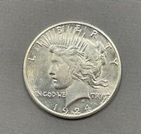 1924-S PEACE DOLLAR $1 - AU / UNCIRCULATED  LUSTER