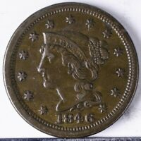 1846 BRAIDED HAIR LARGE CENT VF  SMALL DATE