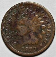 1870 INDIAN HEAD CENT - SEMI KEY DATE  >> US 1C PENNY COIN <<  LOT 214