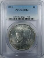 1923 PCGS MINT STATE 63 SILVER PEACE DOLLAR